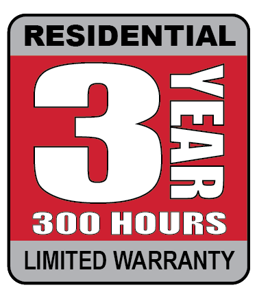 3 year, 300 hour residential limited warranty