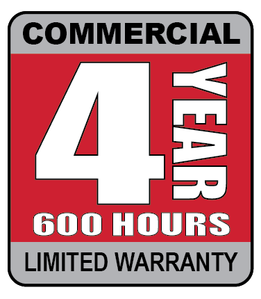 4 year, 600 hours commercial limited warranty