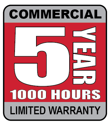 5 year, 1000 hours commercial limited warranty