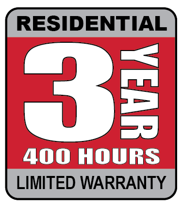 3 year, 400 hours residential limited warranty